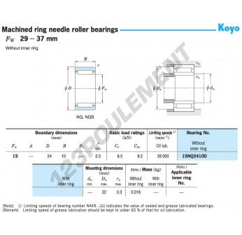 15NQ2410D-KOYO - 15x24x10 mm