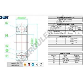 16002-ZZ-ZEN - 15x32x8 mm