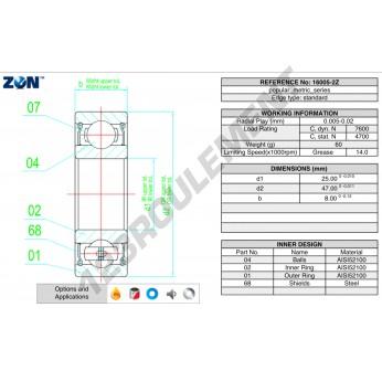 16005-ZZ-ZEN - 25x47x8 mm