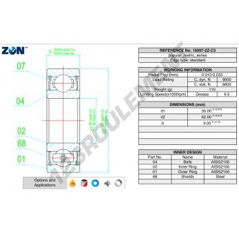 16007-ZZ-ZEN - 35x62x9 mm