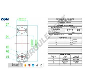 16008-2RS-ZEN - 40x68x9 mm
