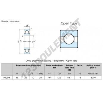 16009-KOYO - 45x75x10 mm