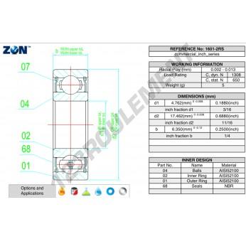 1601-2RS-ZEN - 4.8x17.5x7.94 mm