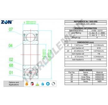 1603-2RS-ZEN - 7.9x22.2x8.73 mm