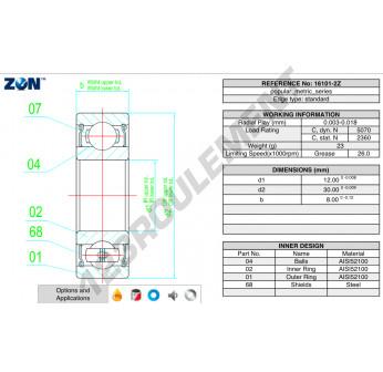 16101-ZZ-ZEN - 12x30x8 mm