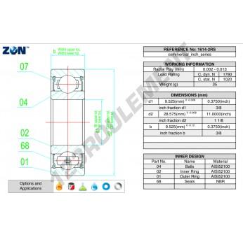 1614-2RS-ZEN - 9.5x28.6x9.5 mm