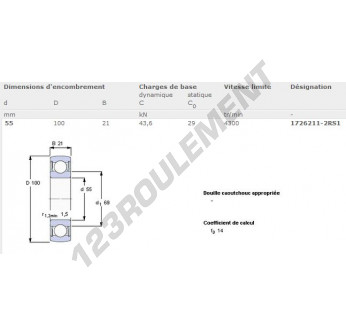 1726211-2RS1-SKF - 55x100x21 mm
