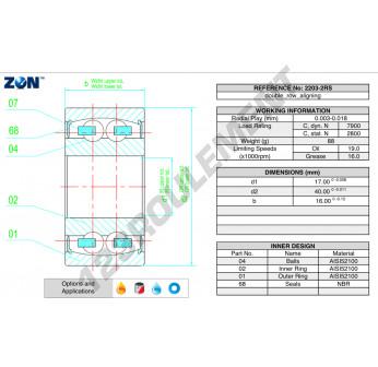 2203-2RS-ZEN - 17x40x16 mm