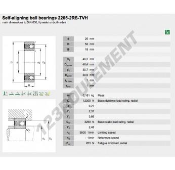 2205-2RS-TVH-FAG - 25x52x18 mm