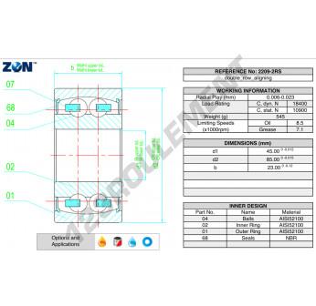 2209-2RS-ZEN - 45x85x23 mm