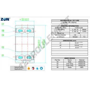 2211-2RS-ZEN - 55x100x25 mm