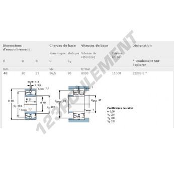 22208-E-SKF - 40x80x23 mm