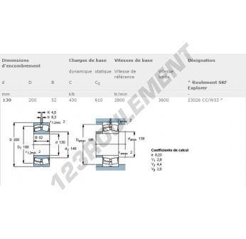 23026-CC-W33-SKF - 130x200x52 mm