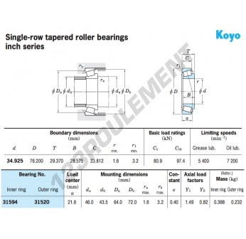 31594-31520-KOYO - 34.93x76.2x29.37 mm