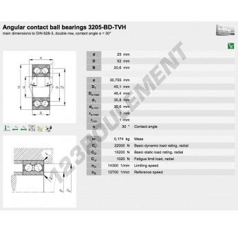 3205-BD-TVH-FAG - 25x52x20.6 mm