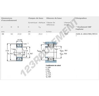 3206A-2RS1TN9-MT33-SKF - 30x62x23.8 mm