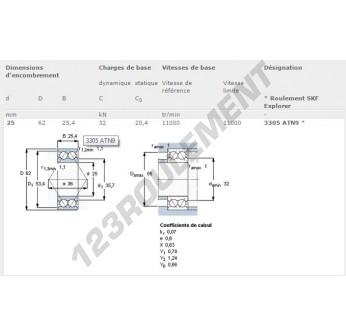 3305-ATN9-SKF - 25x62x25.4 mm