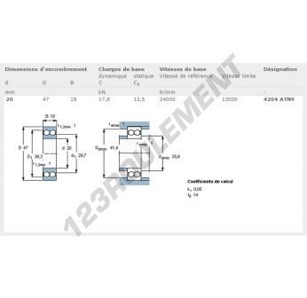 4204-ATN9-SKF - 20x47x18 mm