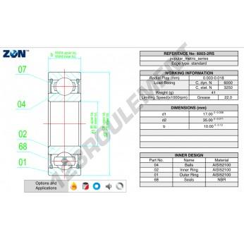 6003-2RS-ZEN - 17x35x10 mm