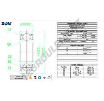 6009-2RS-CS-ZEN - 45x75x16 mm