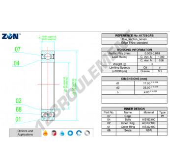 61703-2RS-ZEN - 17x23x4 mm