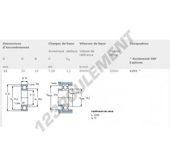 6201-SKF - 12x32x10 mm