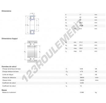 6203-Z-SKF - 17x40x12 mm