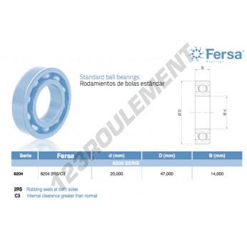 6204-2RS-C3-ASFERSA - 20x47x14 mm
