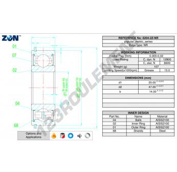 6204-ZZ-NR-ZEN - 20x47x14 mm