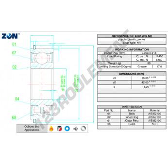 6302-2RS-NR-ZEN - 15x42x13 mm