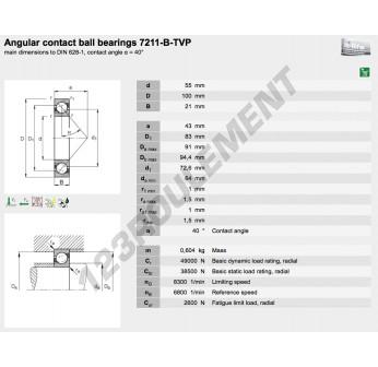 7211-B-TVP-FAG - 55x100x21 mm