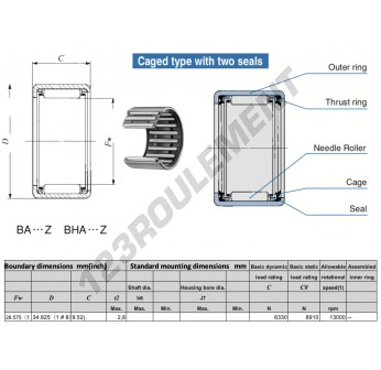 BA186-Z-IKO - 28.58x34.93x9.52 mm
