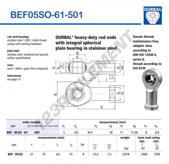 BEF05SO-61-501-DURBAL - 5x18x8 mm