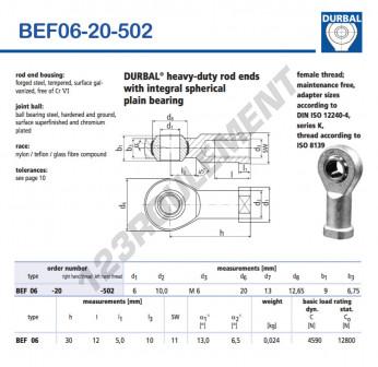 BEF06-20-502-DURBAL - 6x20x9 mm