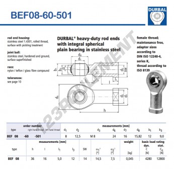 BEF08-60-501-DURBAL - 8x24x12 mm