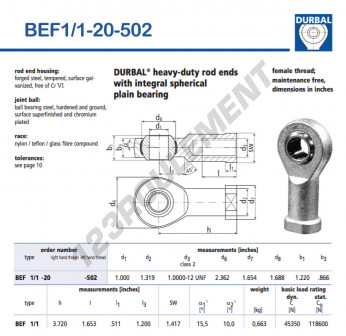 BEF1-1-20-502-DURBAL - 25.4x59.99x30.99 mm