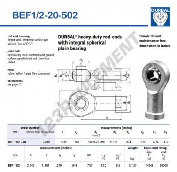 BEF1-2-20-502-DURBAL - 12.7x33.3x15.85 mm