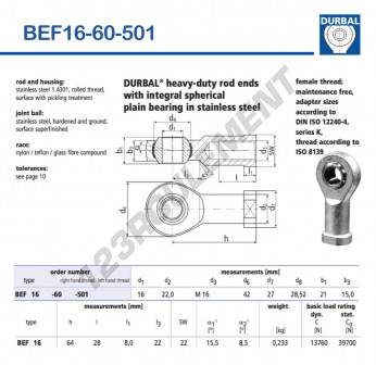 BEF16-60-501-DURBAL - 16x42x21 mm