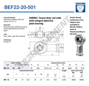 BEF22-20-501-DURBAL - 22x54x28 mm