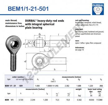 BEM1-1-21-501-DURBAL - x25.4 mm