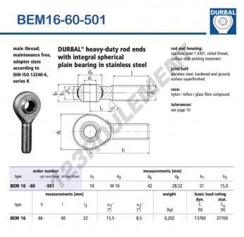 BEM16-60-501-DURBAL - x16 mm