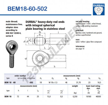 BEM18-60-502-DURBAL - x18 mm