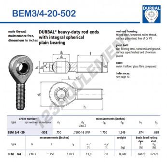 BEM3-4-20-502-DURBAL - x19.05 mm