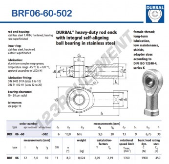 BRF06-60-502-DURBAL - 6x20x9 mm