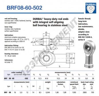 BRF08-60-502-DURBAL - 8x24x12 mm