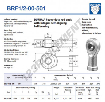 BRF1-2-00-501-DURBAL - 12.7x33.3x15.85 mm