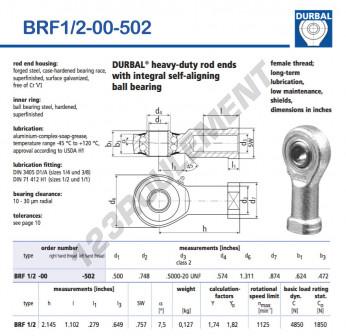 BRF1-2-00-502-DURBAL - 12.7x33.3x15.85 mm