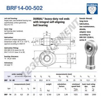 BRF14-00-502-DURBAL - 14x36x19 mm