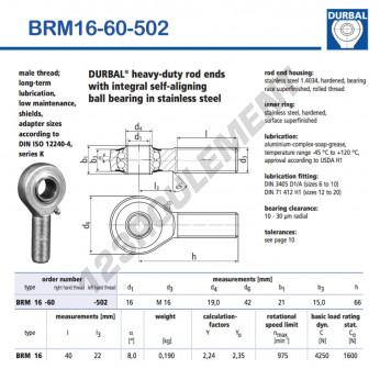 BRM16-60-502-DURBAL - x16 mm
