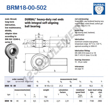 BRM18-00-502-DURBAL - x18 mm